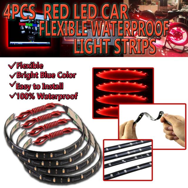 Zone Tech 4x White 30cm 15 LED Car Interior Flexible Waterproof LED Light Strips