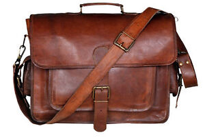 Grande-Veritable-Chevre-Cuir-Vintage-Marron-Messenger-epaule-Sac-d-039-Ordinateur-Portable-Mallette