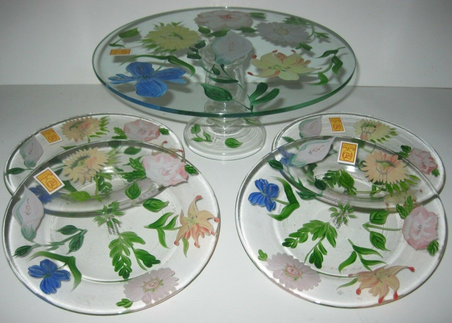 Floral Cake Plate Cake Stand and Plates Royal Danube Crystal Hand Painted NEW