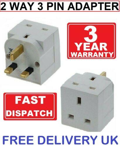 2 Way 3 Broches Adaptateur Convertisseur 13 Amp Double Socket ménage Multi Plug UK