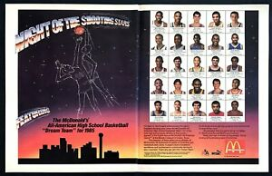 1985-McDonald-039-s-All-American-High-School-Basketball-Team-photo-2-page-print-ad