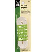"""M00821a MOREZMORE Dritz Cotton 1/4"""" Narrow Braided Elastic Off White 3 Yd DWS"""