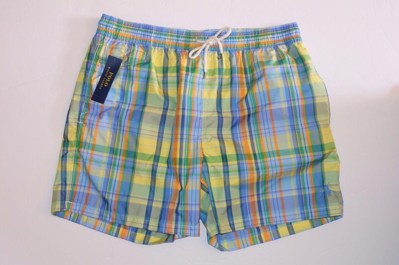NWT Authentic POLO RALPH LAUREN Men's 5¾  Plaid Swim Trunks Shorts, Size XXL