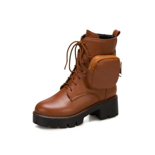 Details about  /Ankle Boots Women Chelsea Pumps Buckle Chunky Block Heel Round Toe Biker Shoes L