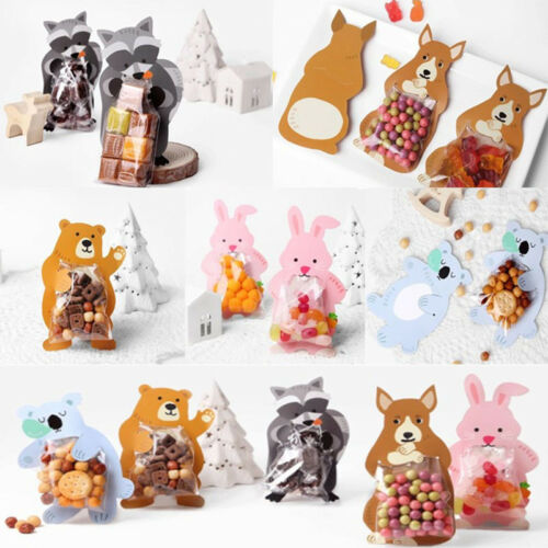 10PCS Cute Animal Cello Cellophane Birthday Party Favour Candy Gift Bags Board