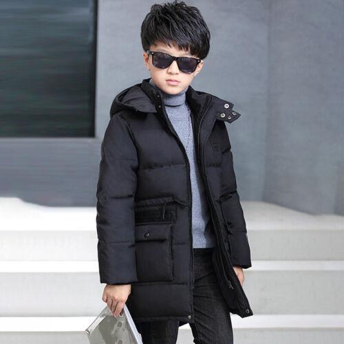 Winter Kids Boys Hooded Warm Coats Quilted Jacket School Trendy Parka Overcoat