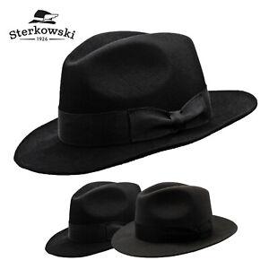 481ea28dd Details about Sterkowski VINCENT Rabbit Fur Felt Fedora Hat Vintage Classic  Elegant Bogart