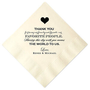 Image Is Loading 100 Personalized Napkins Wedding Thank You 3 Ply