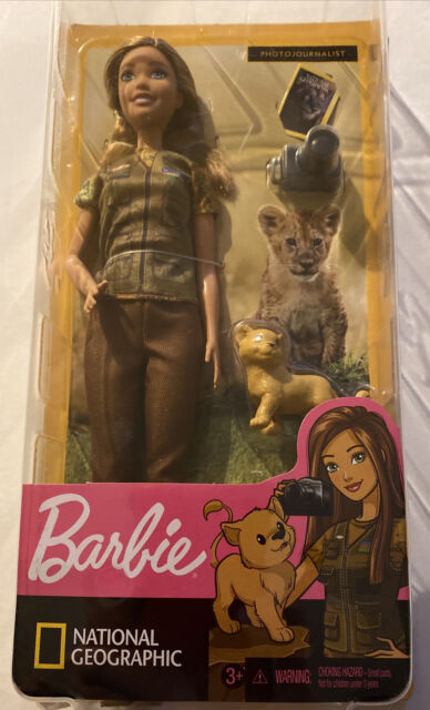National Geographic Wildlife Photographer Barbie with Lion Cub GDM46 NRFB