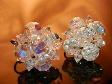 So Pretty Signed Coro Vintage 1950's Aurora Crystal Earrings  2410s
