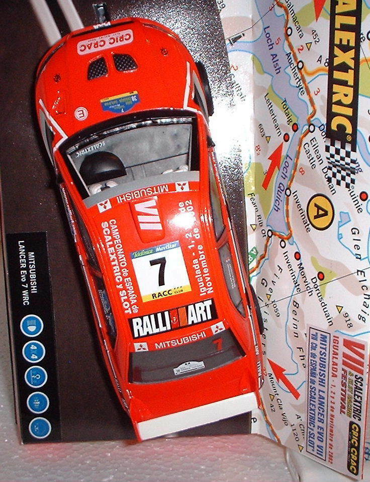 Qq 6090 SCALEXTRIC MITSUBISHI LANCER EVO7 VII CTO ESPAGNE SLOT 2002 IGUALADA