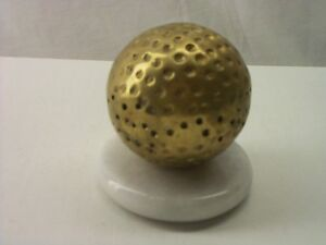 Details about VINTAGE GOLF BALL BRASS COLOR PAPERWEIGHT WITH MARBLE BASE