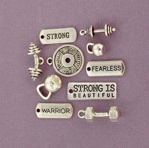 COL335 Weight Training Charm Collection Antique Silver Tone 10 Charms