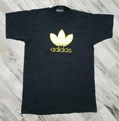 79cfd67450959 Vintage 80s adidas Originals Trefoil Logo T-Shirt size Large Bootleg Black  | eBay