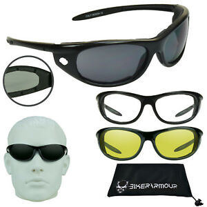Foam Padded Motorcycle Biker Riding Glasses CLEAR Lens for Night Riding