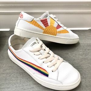 Soludos GOOD VIBES Rainbow Wave Sunshine LEATHER Sneakers White Size 7