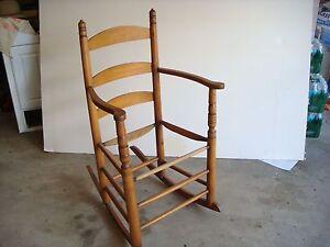 Image Is Loading Vintage Shaker Wooden Ladder Back Rocking Chair Maine