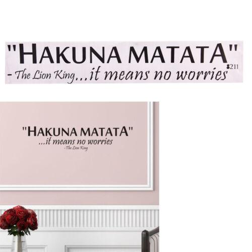 Hakuna Matata keine Sorge zitieren Wandtattoo dekorative Home Dekor TPI