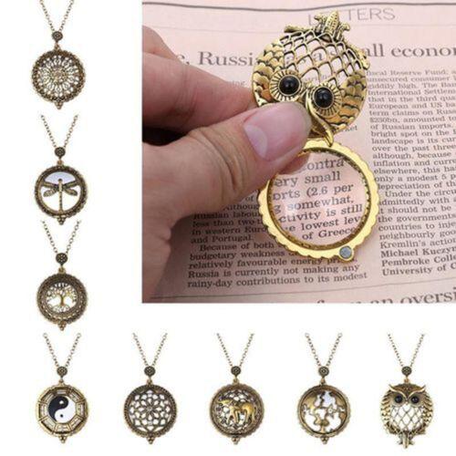 Vintage Hollow 5X Magnifying Glass Pendants Cabochon Chain Long Necklaces Maps