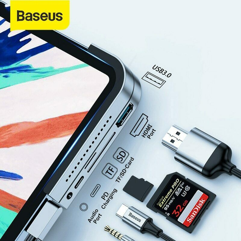 Baseus USB C HUB Type C to USB SD//TF PD Port Power Adapter Splitter for MacBook
