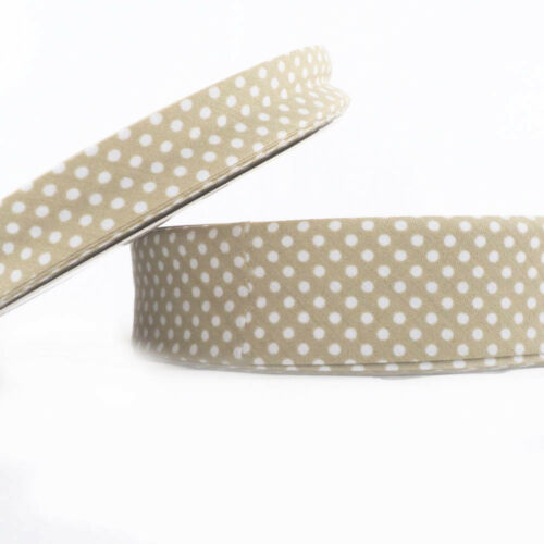 18mm Beige Cotton Fabric Folded Trim Dot Bias Binding