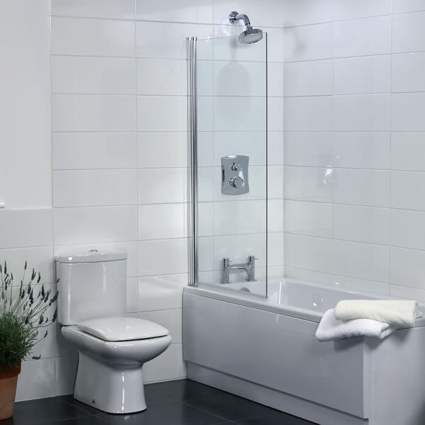 Coram Bathroom Square Edge Over Bath Shower Screen 800mm Safety ...