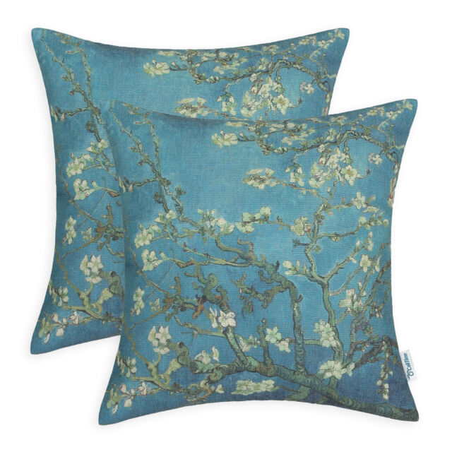 Set of 2 Van Gogh Almond Blossom Painting Print Cushion Cover Pillows Shell 45cm