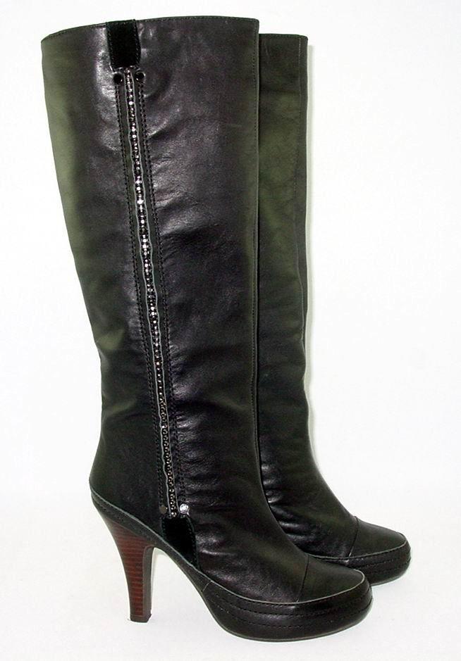 migliori prezzi e stili più freschi nero nero nero Leather 7.5 Rhinestones Knee High Pull On Biker Steampunk Posh Goth Dancer  prezzi all'ingrosso