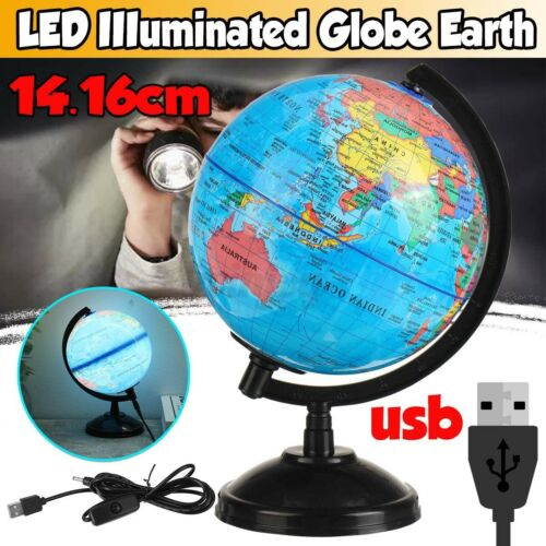 USB LED World Earth Globe Map Geography Education Kid Gift Rotating Desk