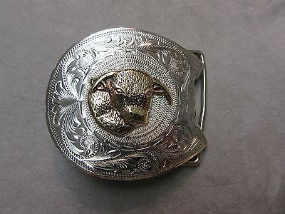 Vintage Belt Buckle Sterling Silver Gold Bull