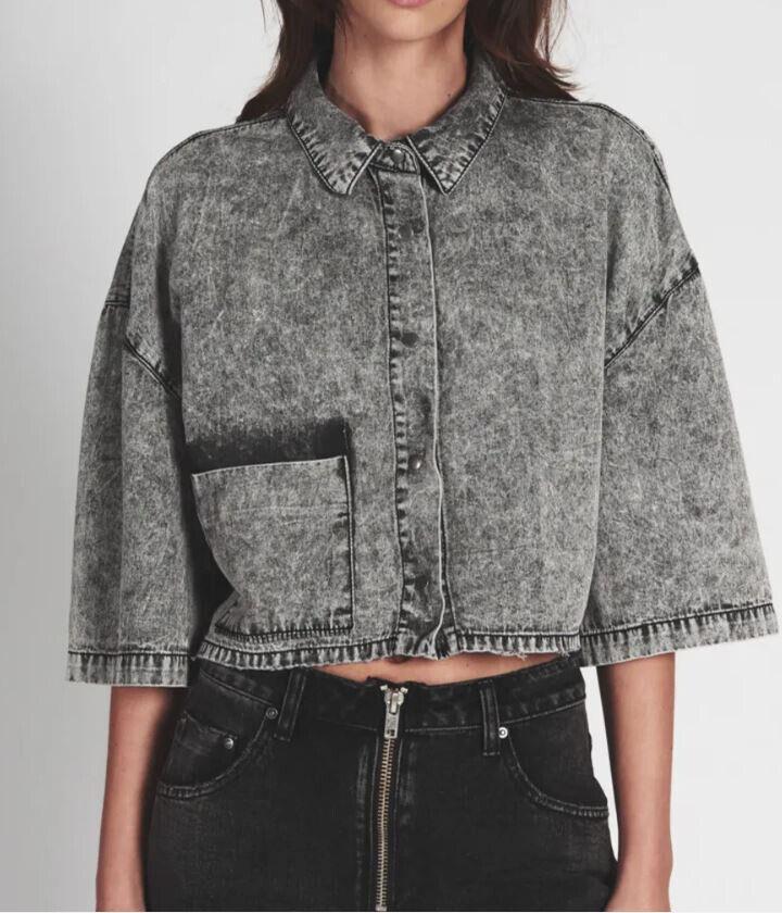 One Teaspoon damen 20382 New Wave Shirt Cropped Washed grau Größe S