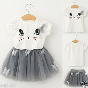 Kids-Girls-Cat-Pattern-Summer-Clothes-T-shirt-Tops-Tulle-Tutu-Skirt-Outfits-Set
