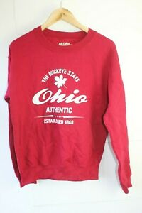 Retro-vintage-red-Ohio-Buckeye-State-USA-sweatshirt-jumper-Small