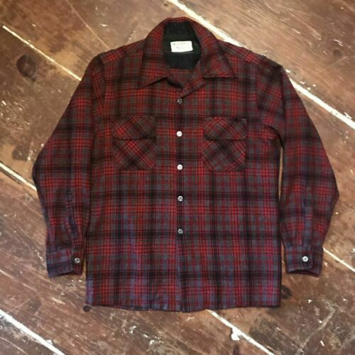 NOS Vintage Plaid Shirt by Atkinson 1960s 1970s Wool Blend 50 Inch Chest L XL Workshirt Shirtjacket Red Green White Black Tartan Dead Stock