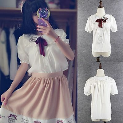 Kawaii Lolita Bowknot Blouse Chiffon Shirt Women Cute Sailor Short Tops S-L