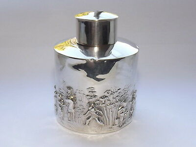 ANTIQUE EDWARDIAN CHARLES HORNER SOLID SILVER STERLING TEA CADDY BIRMINGHAM 1905