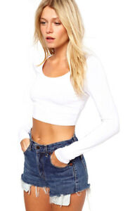 Vivian-039-s-Fashions-Crop-Top-Long-Sleeves-White-Size-Small