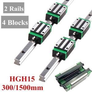 2X Linear Rail HGH15-300mm/1500mm Set 4X HGH15CA Bearing Block Carriage HGR15
