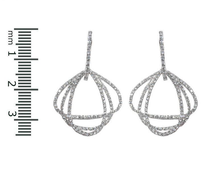Pave Clear Triple Charms Open Tear Drop Cubic Zirconia Rhodium Hoop Earrings