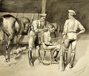 A-Haircut-in-a-Cavalry-Stable-by-Frederic-Remington-Giclee-Repro-on-Canvas