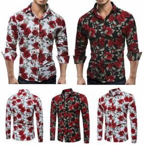 Slim-Men-Luxury-Long-Sleeve-Tops-Tee-Fit-Casual-Rose-Flower-Printed-Shirts-Hot