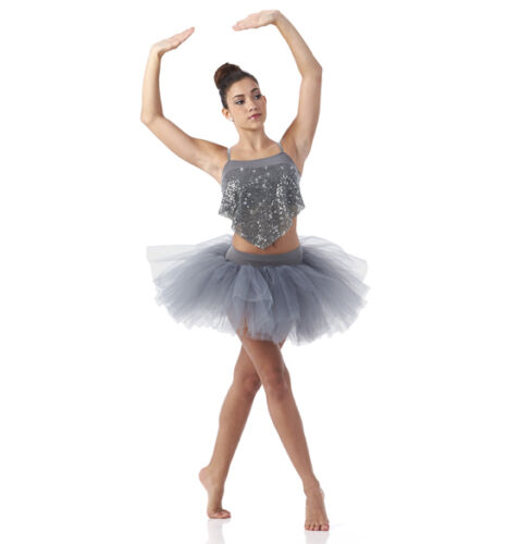 New Silver Ballet Tutu Dance Costume Contmeporary Chained Adult M