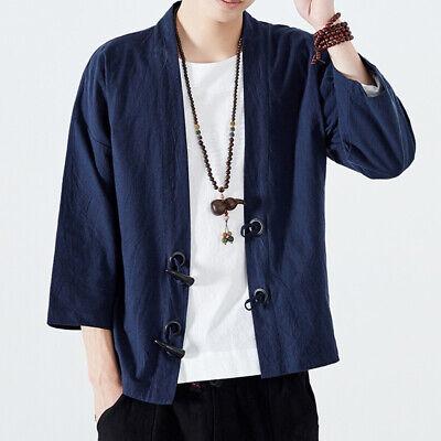 Men Japanese Yukata Tang Suit Coat Kimono Outwear Hanfu Retro Loose Cardigan Fit