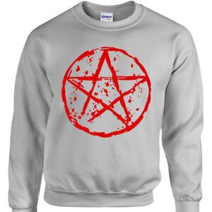 Pentagramma-Felpa-Uomo-Donna-Rock-Goth-Punk-Maglione-Metallo-Gotico-Satanico