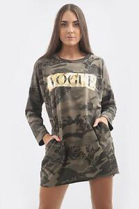 WOMEN-039-S-LADIES-LONG-SLEEVE-BAGGY-FIT-VOGUE-PRINT-CAMOUFLAGE-MINI-DRESS-TUNIC-TOP