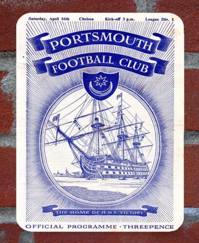 Vintage Tin Sign Portsmouth 1950s Programme Metal Sign.
