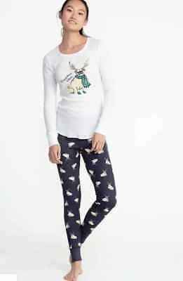Old Navy thermal fitted T-Shirt TOP LEGGINGS long john lounge pajamas bottom SET