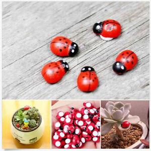20X-Mini-Ladybug-Beatles-Garden-Ornaments-Scenery-Craft-For-Plant-Fairy-Decor-RS