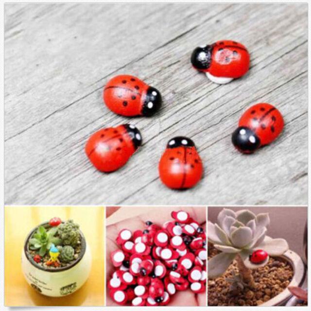 20X Mini Ladybug Beatles Garden Ornaments Scenery Craft For Plant Fairy Decor RS