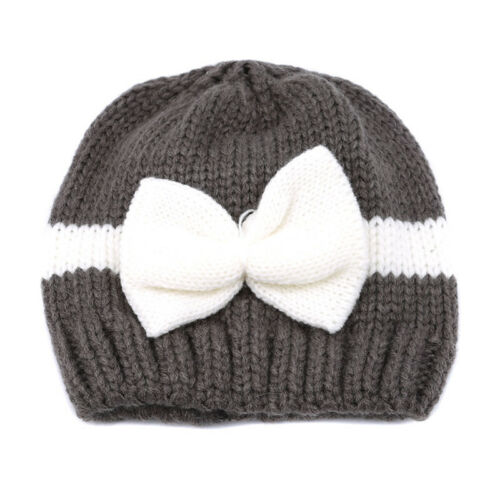 Baby Girl Knitting Woolen Hat With Bow Cap Hospital Newborn Beanie Hat 6A
